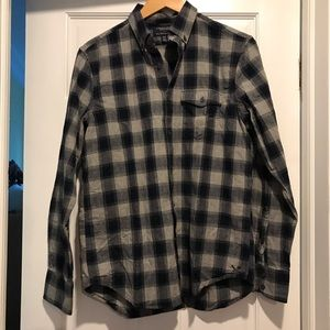 American Eagle Slim Fit Navy Gray Flannel Shirt M